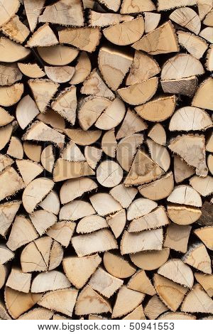 stack of firewood prepared for winter. Background