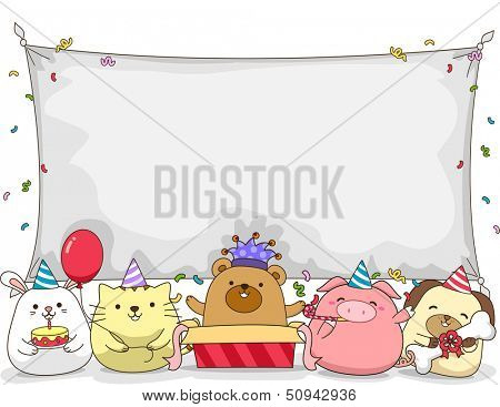 Banner Illustration Featuring Cute Little Animals Having a Birthday Party