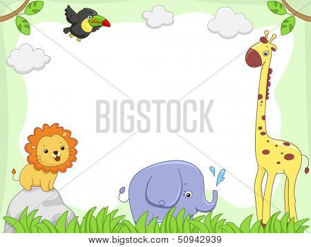 Frame Illustration Featuring Cute Jungle Animals