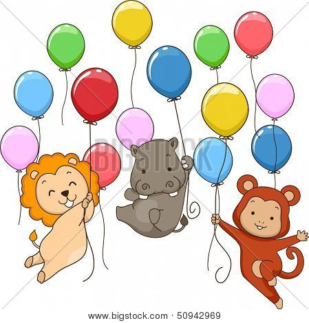 Illustration of Cute Jungle Animals Holding on To Colorful Balloons