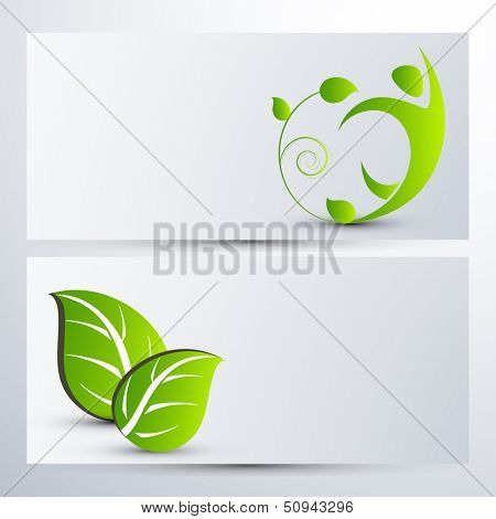 Website header or banner set with green leafs.
