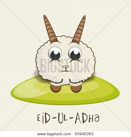 Muslim community festival of sacrifice Eid Ul Adha greeting card or background with sheep on abstract background.