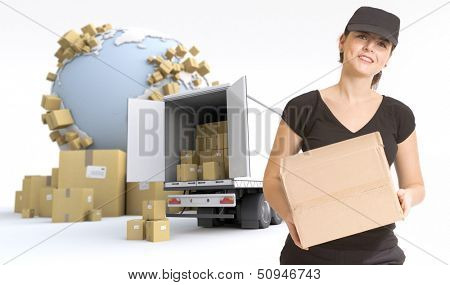 Female Messenger delivering a parcel in an international transport context. The Earth texture comes from the Nasa free of use images