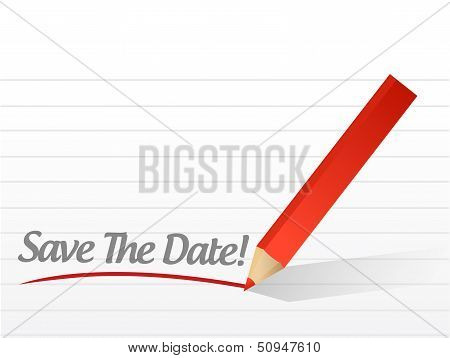 Save The Date Pencil Writing