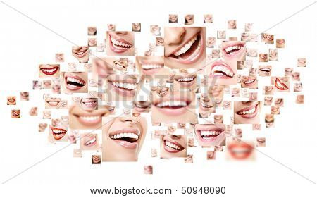 Perfect smiles collage. Collection of beautiful wide human smiles with great healthy white teeth. Isolated over white background