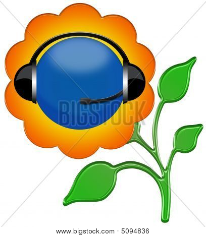 Headphone Sign Flower