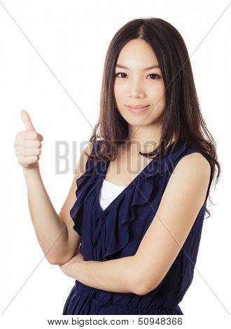 Asian woman thumb up