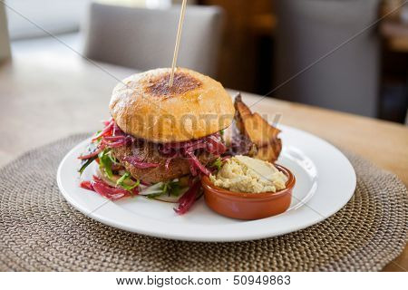 Detail of vegetarian falafel burger in restaurant