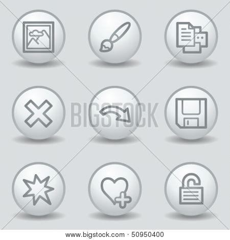 Image viewer web icons set 2, circle white matt buttons