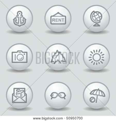 Travel web icons set 5, circle white matt buttons