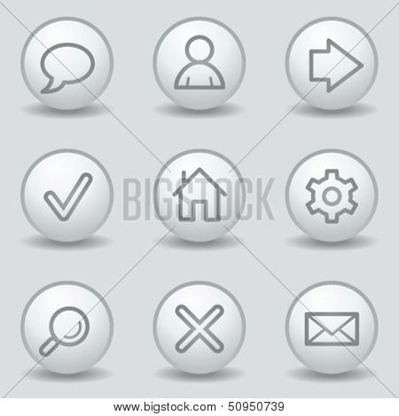 Basic web icons, circle white matt buttons