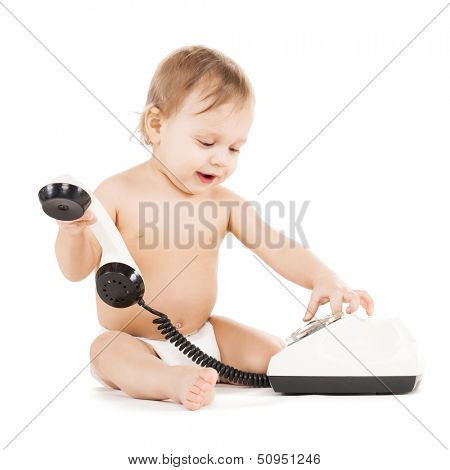 childhood and toy concept - curious child playing with phone