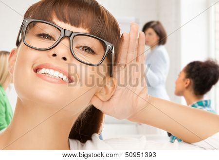 education and school - happy woman listening gossip