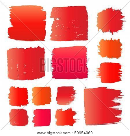 Vector set of red grunge watercolor brush strokes.  Collection of red vector oil paint brush strokes isolated on white background. Paint brush strokes.