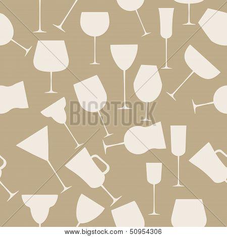 Seamless background pattern of alcoholic glass. Retro vintage st