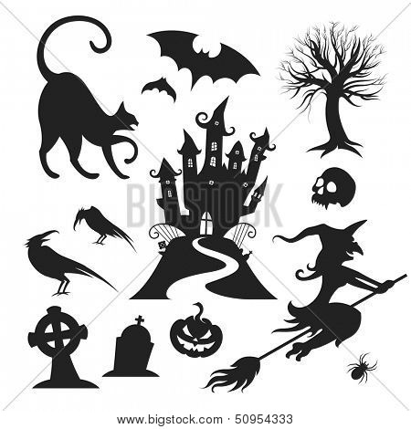 Set of various vector halloween design elements