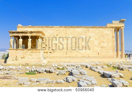 Famous caryatids at Temple of Erechtheum in Acropolis Athens Greece.