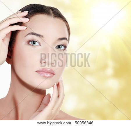 Beautiful asian woman against an abstract blurred background