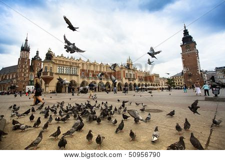 KRAKOW, POLAND - SEN 12: The Main Square is the main market square of the Old Town, Sen 12, 2013 in Krakow, Poland. Main Square also is principal urban space located at the center of the city.