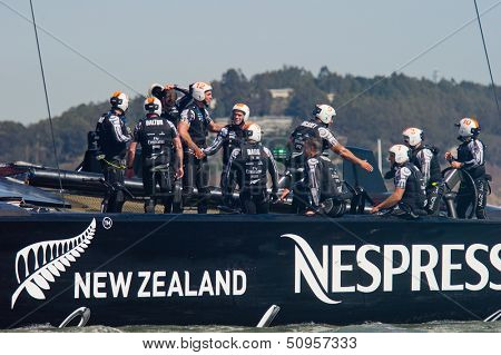 SAN FRANCISCO, CA - SEPTEMBER 12: Emirates Team New Zealand celebrates after winning their America's Cup race in San Francisco, CA on September 12, 2013