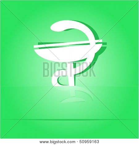 Pharma symbol. Paper sticker as bookmark. Raster illustration.