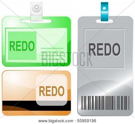 Redo. Id cards. Raster illustration.