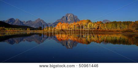 Beautiful Grand Tetons reflection in still water early morning time