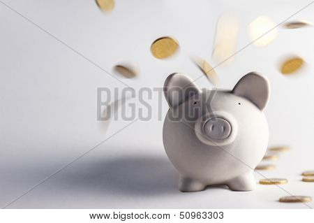 pig money box with golden coins