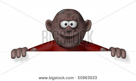 Cartoon character looking over blank white board