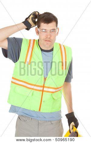 Construction Worker Scratches Head