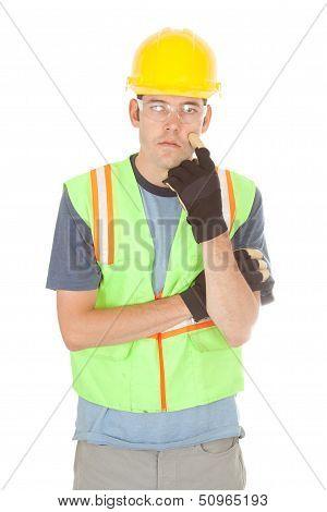 Construction Worker Looking Pensive