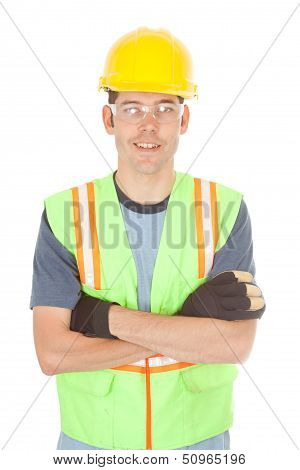 Smiling Construction Worker With Arms Crossed