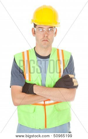 Serious Construction Worker With Arms Crossed