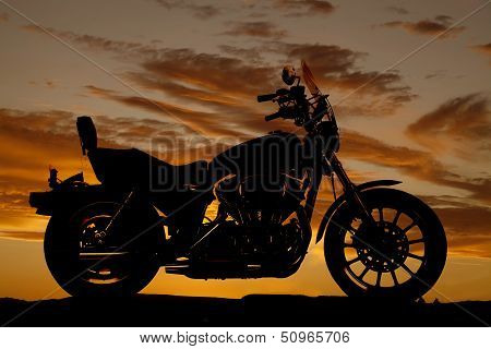 Silhouette Motorcycle Side Sunset