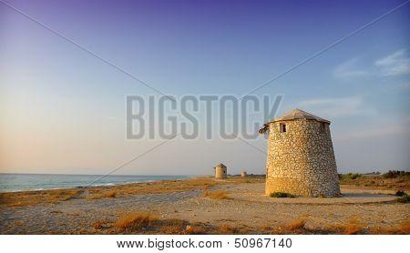 Old windmill ai Gyra beach, Lefkada,greece