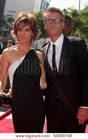 LOS ANGELES - SEP 15:  Lisa Rinna, Harry Hamlin at the Creative Emmys 2013 - Arrivals at Nokia Theater on September 15, 2013 in Los Angeles, CA
