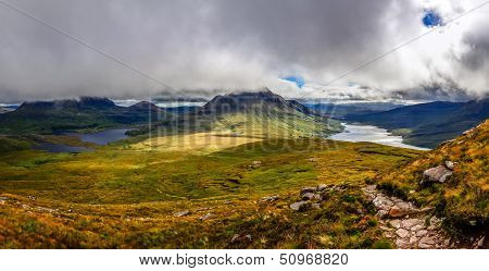 Panoramic View Of Beautiful Lakes And Clouds In Inverpolly Area, Scotland