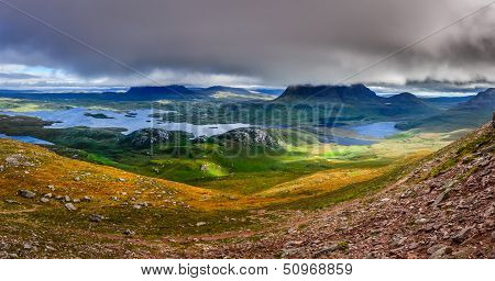 Panoramic View Of Inverpolly Mountains Area In Highlands Of Scotland