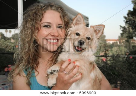 Portrait Of Dog And Girl