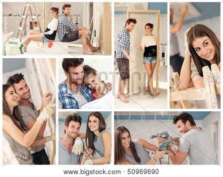 Do it yourself, happy young couple working building new home. Image mosaic.