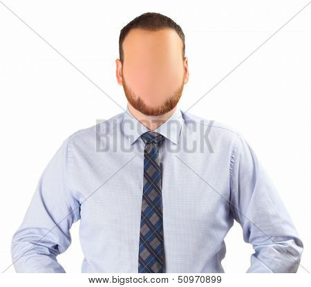 faceless man on white background