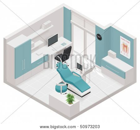 Vector isometric dental clinic icon