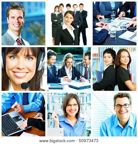 Businessman and businesswoman collage background. Teamwork.
