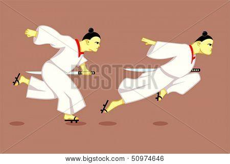 Running japanese samurai or ninja