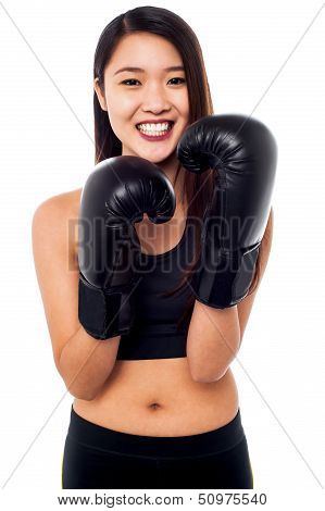 Girl Wearing Lightweight Boxing Gloves