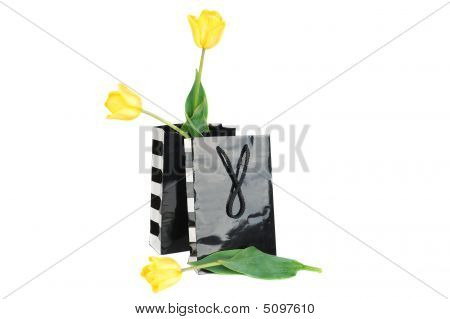 Two Black Shopping Bag With Tulips.