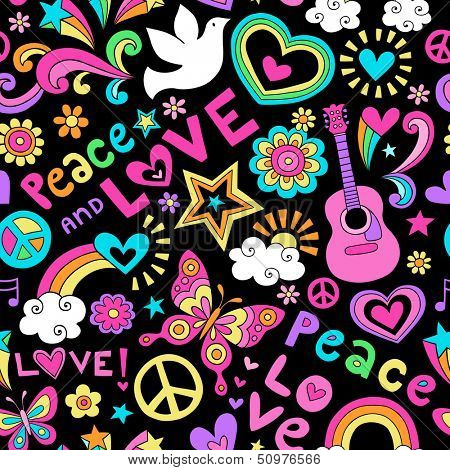 Peace, Love, and Music Seamless Pattern Groovy Retro Notebook Doodle Design- Hand-Drawn Illustration Background