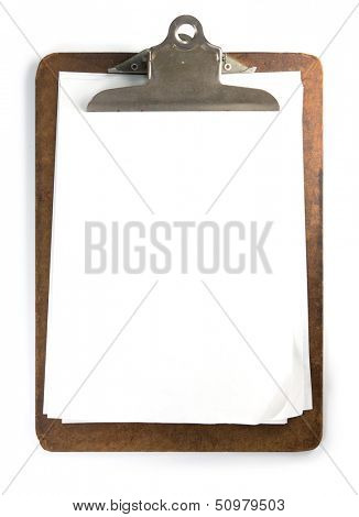 Old used clipboard with roughly placed sheets of paper and folded corners. Clipboard of heavy daily use, isolated on white.