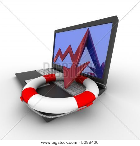 Rescue From Financial Crisis. Isolated 3D Image