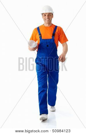 Builder in helmet on a white background